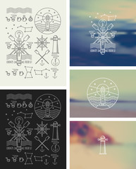 Set of icons on a theme of the sea