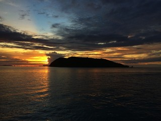 Sunset over the island