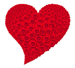 Heart of red roses on white background