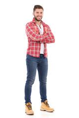 Handsome man in lumberjack shirt