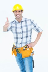 Handyman gesturing thumbs up sign