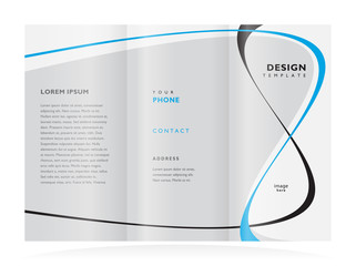 brochure design template tri-fold vector abstract curves