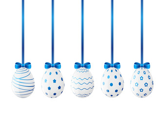 Set of Easter eggs with blue ribbon