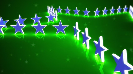 Animated stars on a green background