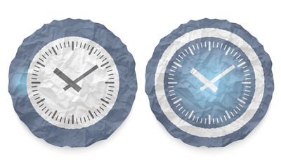 two icons with texture crumpled paper and watches