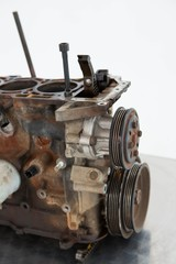 Close-up of old car engine