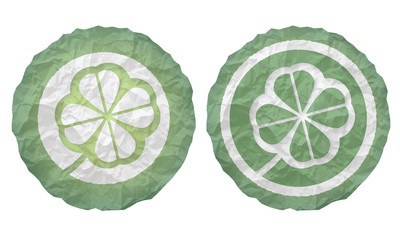two icons with texture crumpled paper and cloverleaf