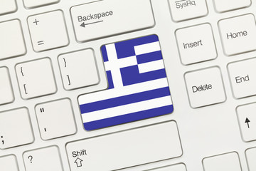 White conceptual keyboard - Greece (key with flag)