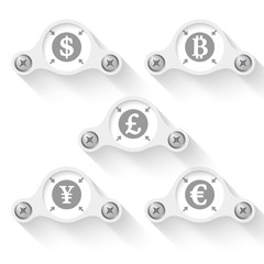 abstract vector objects and currency symbols