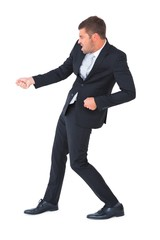 Businessman contorted with hands out