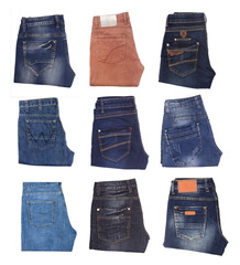 collection of various types of jeans isolated on white