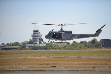 The military helicopter against Takeoff