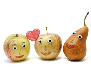 two apples with the heart and a PEAR