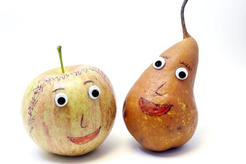 pair of fruits: Apple and PEAR with big eyes
