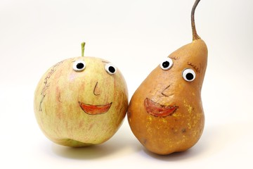 funny pair of fruits Apple and PEAR