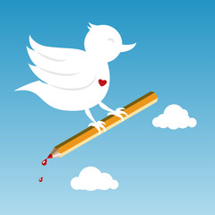bird with pencil
