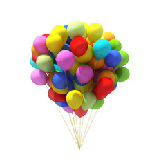 Colorful ballons bunch isolated on white background.