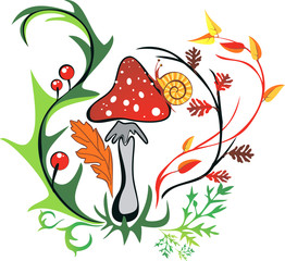 amanita with snail surrounded by colorful leaves