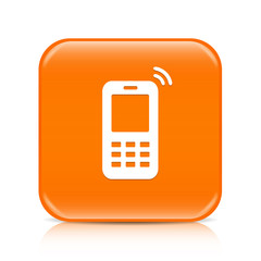 Orange mobile phone button icon with reflection