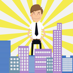 Businessman looking  Is preferred city on