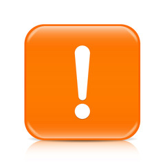 Orange exclamation sign button icon with reflection