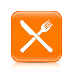 Orange knife and fork button icon with reflection
