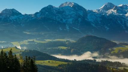 Morning fog in the Austrian Alps