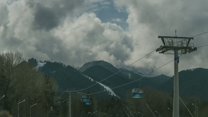 Ropeway lifting skiers to mountain-skiing