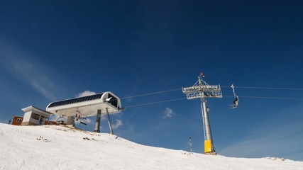 Chair lift for mountain skiers