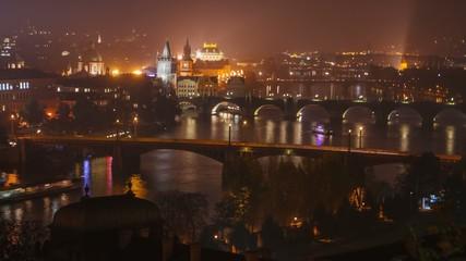 Evening rush hour on the Vltava River in Prague