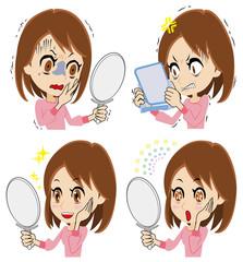 鏡を見る若い女性のセット