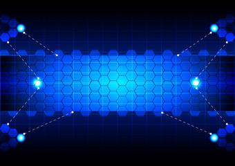 abstract  hexagon blue technology