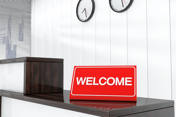 Welcome Sign Plate 3d render interior