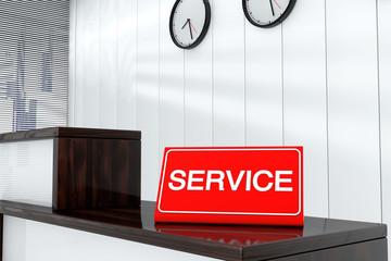 Service Sign Plate 3d render interior