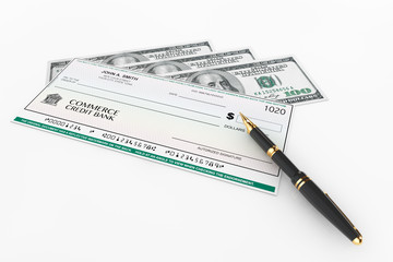 Blank Banking Check and Fountain Pen with Dollars Bills