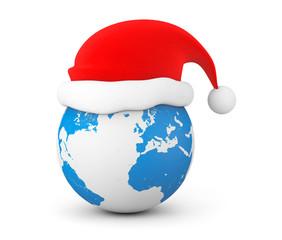 Santa Hat over Earth Globe