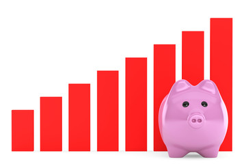 Piggy Bank with Red Graphic