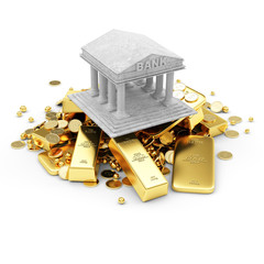 Bank Icon with Heap of Treasure. Business Financial Concept