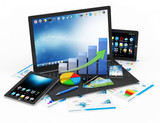 Business Financial Concept. Laptop with Business Graph
