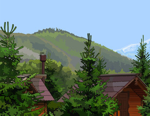 wooden houses in the firs mountains in the background
