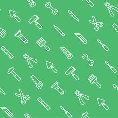 White flat renovation tools on green seamless pattern