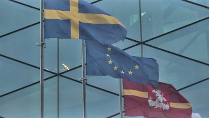 Vilnius. Skyscraper and EU Flags_8.mov
