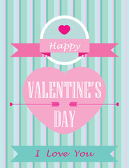 happy valentines day card with ornaments, hearts, ribbon.