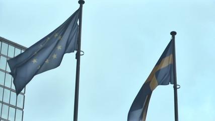 Vilnius. Skyscraper and EU Flags_2.mov
