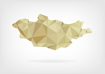 Low Poly map of Mongolia