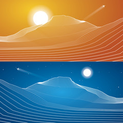 White lines, abstraction, mountains, sand dunes