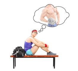Nerdy guy imagining himself as a bodybuilder