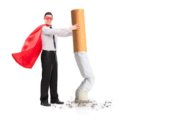Superhero putting out a giant cigarette