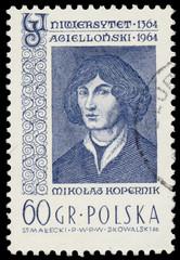 Stamp printed in Poland shows Nicolaus Copernicus
