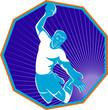 handball player jumping throwing ball set inside hexagon retro